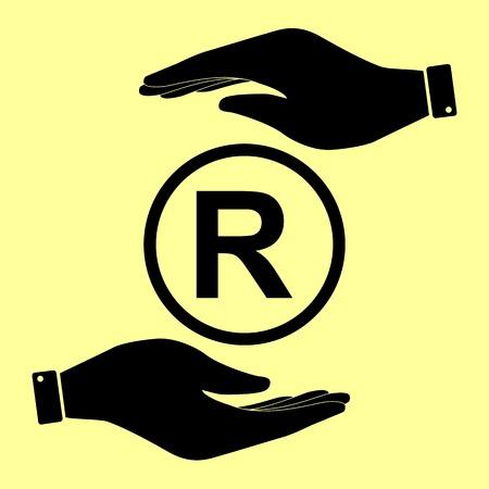 dispensation: Registered Trademark sign. Save or protect symbol by hands.