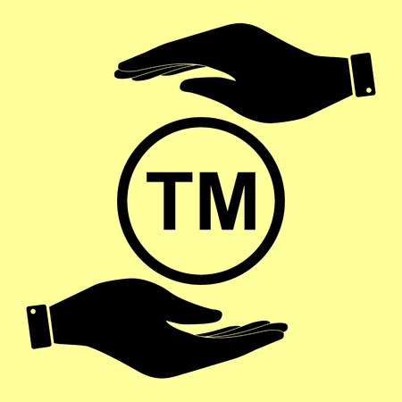 trade mark: Trade mark sign. Save or protect symbol by hands. Illustration