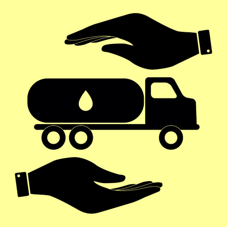 toxic substances: Car transports Oil sign. Save or protect symbol by hands.