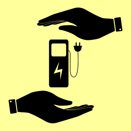 zero emission: Electric car charging station sign. Save or protect symbol by hands. Illustration