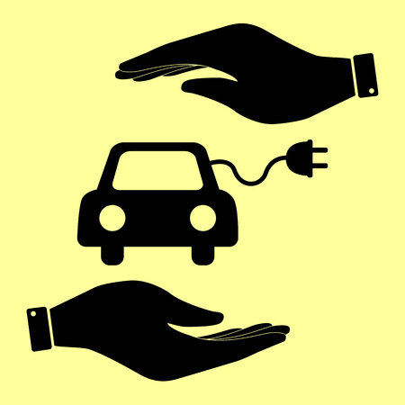 automobile industry: Eco electrocar sign. Save or protect symbol by hands. Illustration