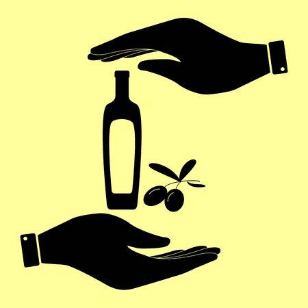 salad dressing: Olives branch with olive oil bottle sign. Save or protect symbol by hands. Illustration