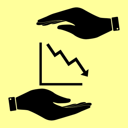 downwards: Arrow pointing downwards showing crisis. Save or protect symbol by hands. Illustration