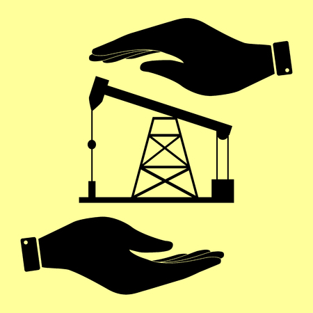 drilling rig: Oil drilling rig sign. Save or protect symbol by hands.