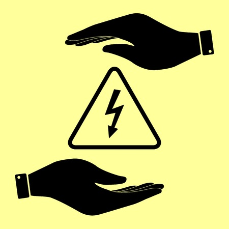 volte: High voltage danger sign. Save or protect symbol by hands.