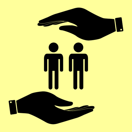 gay family: Gay family sign. Save or protect symbol by hands. Illustration