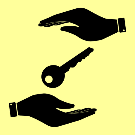 privileges: Key sign. Save or protect symbol by hands.