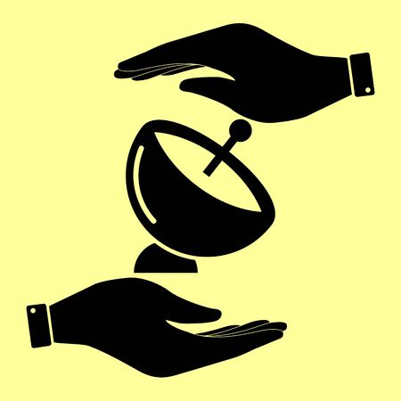 transmitting: Satellite dish sign. Save or protect symbol by hands.