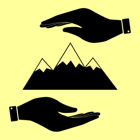 snow capped: Mountain sign. Save or protect symbol by hands.