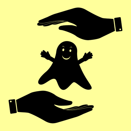 ghastly: Ghost isolated sign. Save or protect symbol by hands. Illustration