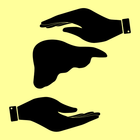 human liver: Human anatomy. Liver sign. Save or protect symbol by hands.