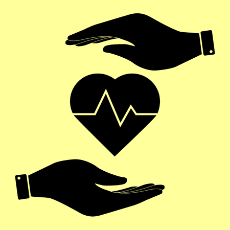 patient chart: Heartbeat sign. Save or protect symbol by hands.