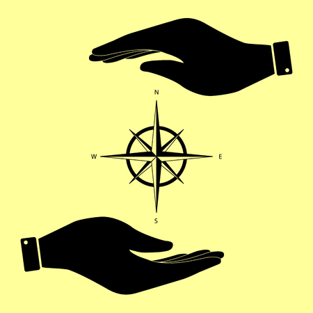 rosa de los vientos: El viento se levant� signo. Salvar o proteger el s�mbolo de las manos. Vectores