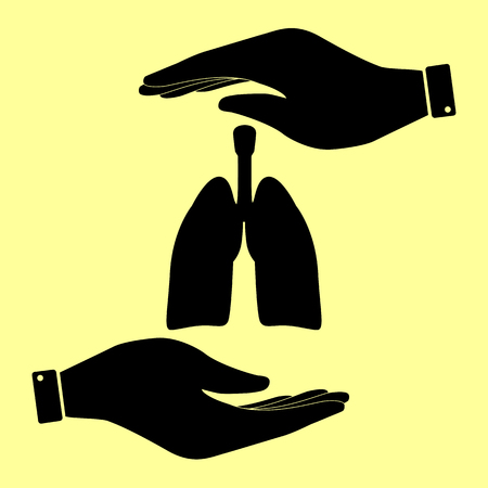pulmones: Human organs. Lungs sign. Save or protect symbol by hands.