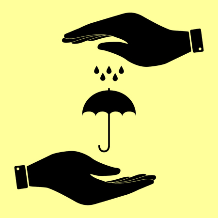 nylon: Umbrella with water drops. Rain protection symbol. Save or protect symbol by hands.