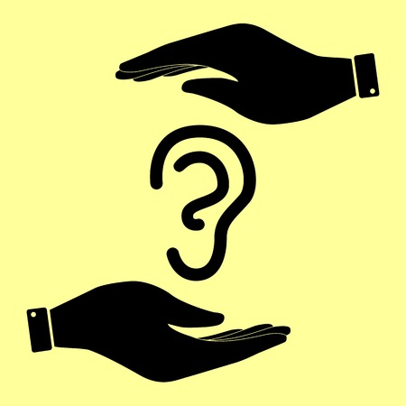 listener: Human ear sign. Save or protect symbol by hands. Illustration