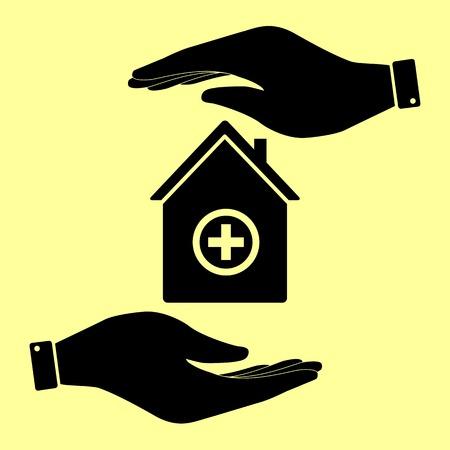 emt: Hospital  sign. Save or protect symbol by hands.