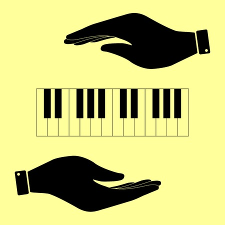 acoustically: Piano Keyboard  sign. Save or protect symbol by hands.