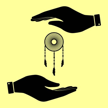 swelled: Dream catcher sign. Save or protect symbol by hands.