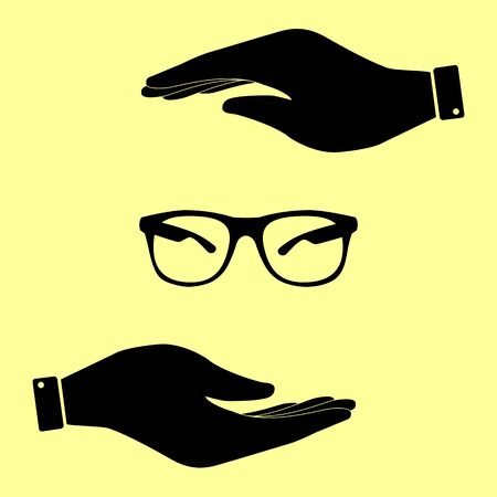 protective eyewear: Sunglasses sign. Save or protect symbol by hands. Illustration