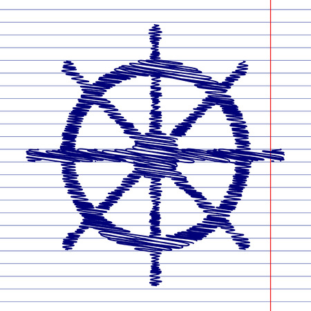ship wheel: Ship wheel sign illustration with chalk effect on school paper Illustration