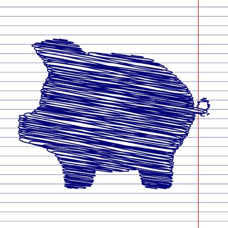 signo de pesos: Cerdo muestra de la ilustración del banco del dinero con el efecto de la tiza en el papel de la escuela Vectores