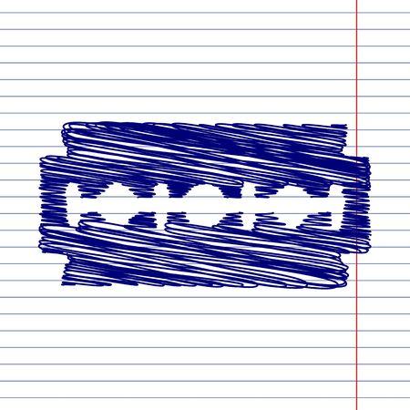 razor blade: Razor blade sign illustration with chalk effect on school paper