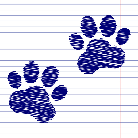 animal tracks: Animal Tracks sign illustration with chalk effect on school paper Vectores