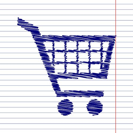 shoppingcart: Shopping cart sign illustration with chalk effect on school paper