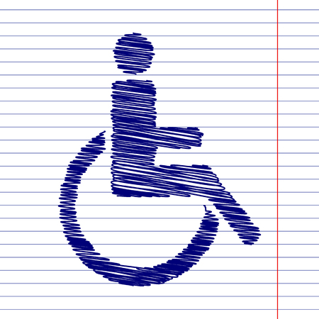 disabled sign: Disabled sign illustration with chalk effect on school paper Illustration