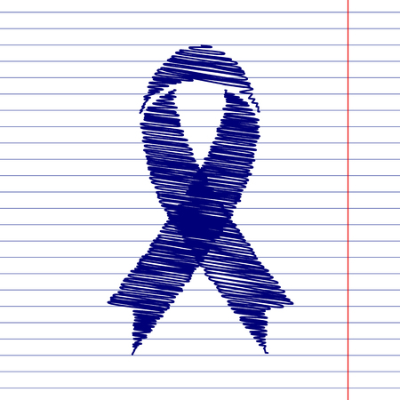 substance abuse awareness: Awareness ribbon sign illustration with chalk effect on school paper