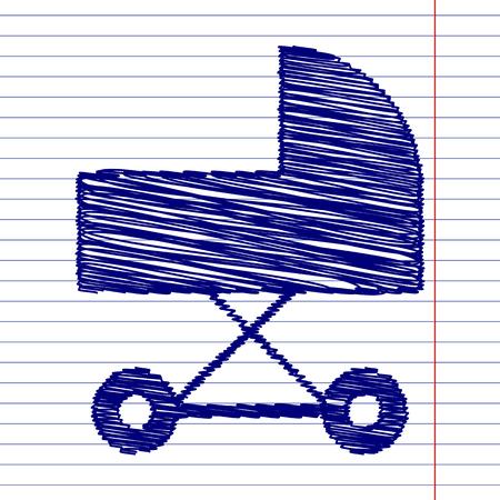 perambulator: Pram sign illustration with chalk effect on school paper Illustration
