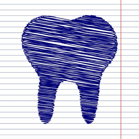 toothcare: Tooth sign illustration with chalk effect on school paper