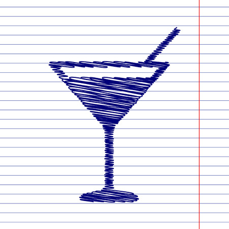 coctail: Coctail sign illustration with chalk effect on school paper Illustration