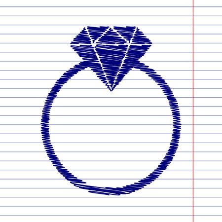 bijou: Diamond sign illustration with chalk effect on school paper Illustration