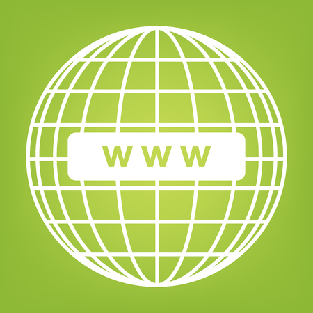 wide: Global communication line icon on green background. Vector illustration