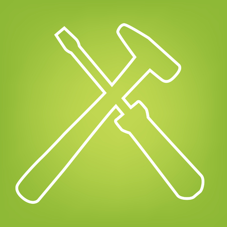 turn screw: Tool line icon on green background. Vector illustration