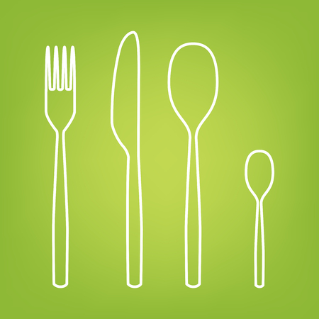 fork and spoon: Fork spoon knife line icon on green background. Vector illustration Illustration