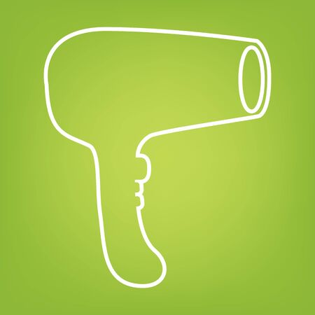green hair: Hair Dryer. Hairdresser line icon on green background. Vector illustration