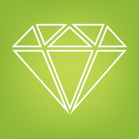 bijou: Diamond line icon on green background. Vector illustration