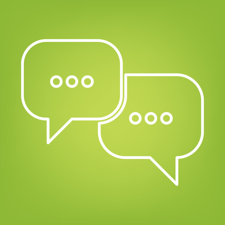 bubles: speech bubles line icon on green background. Vector illustration Illustration