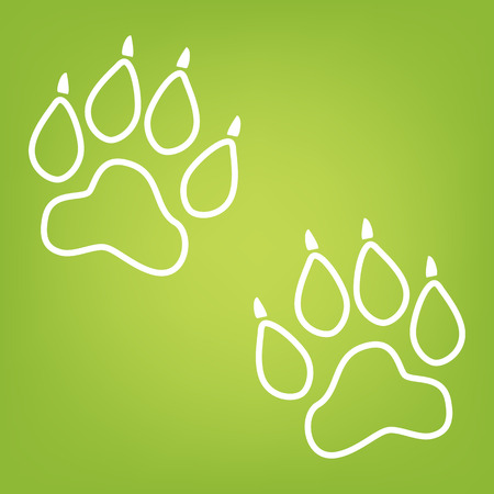 animal tracks: Animal Tracks line icon on green background. Vector illustration Vectores