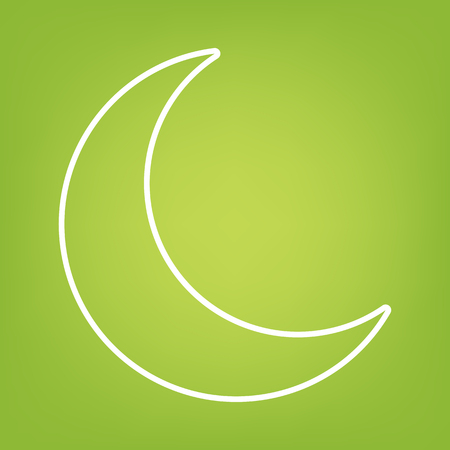 afterglow: Moon line icon on green background. Vector illustration