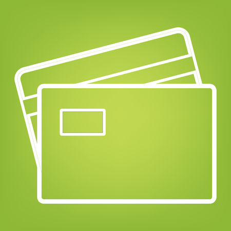 transact: Credit Card line icon on green background. Vector illustration