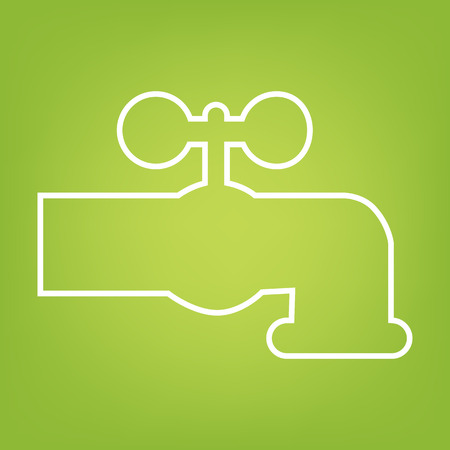 watertap: The water faucet line icon on green background. Vector illustration