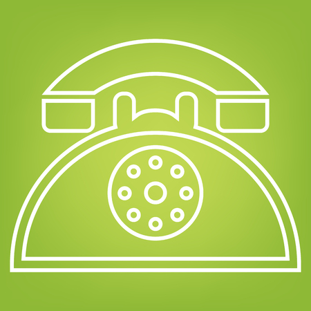 telephone line: Retro telephone line icon on green background. Vector illustration
