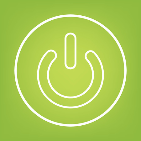 shutdown: On Off switch line icon on green background. Vector illustration