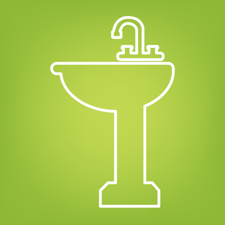 necessity: Bathroom line icon on green background. Vector illustration