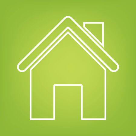 home line: Home line icon on green background. Vector illustration Illustration