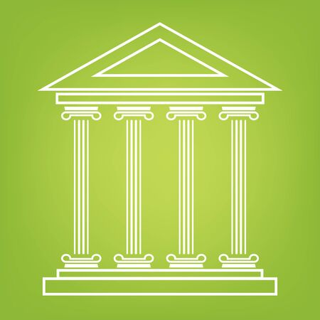 historical building: Historical building line icon on green background. Vector illustration